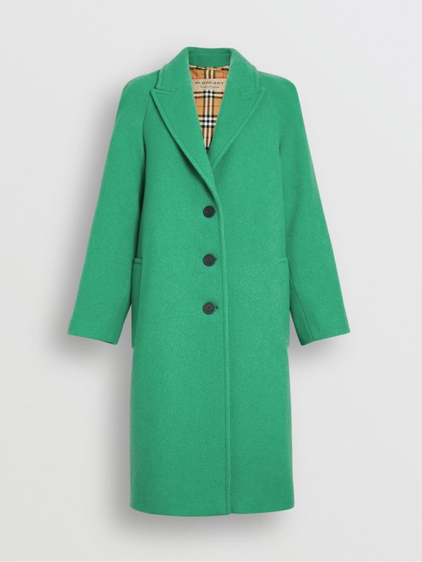 Wool Blend Tailored Coat in Bright Green - Women | Burberry United Kingdom - cell image 3