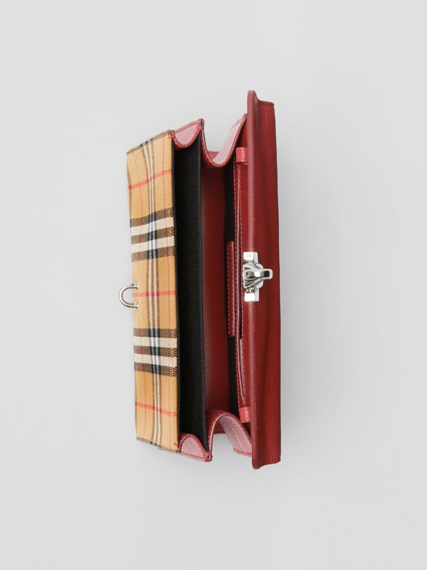 Small Vintage Check and Leather Crossbody Bag in Crimson - Women | Burberry - cell image 3