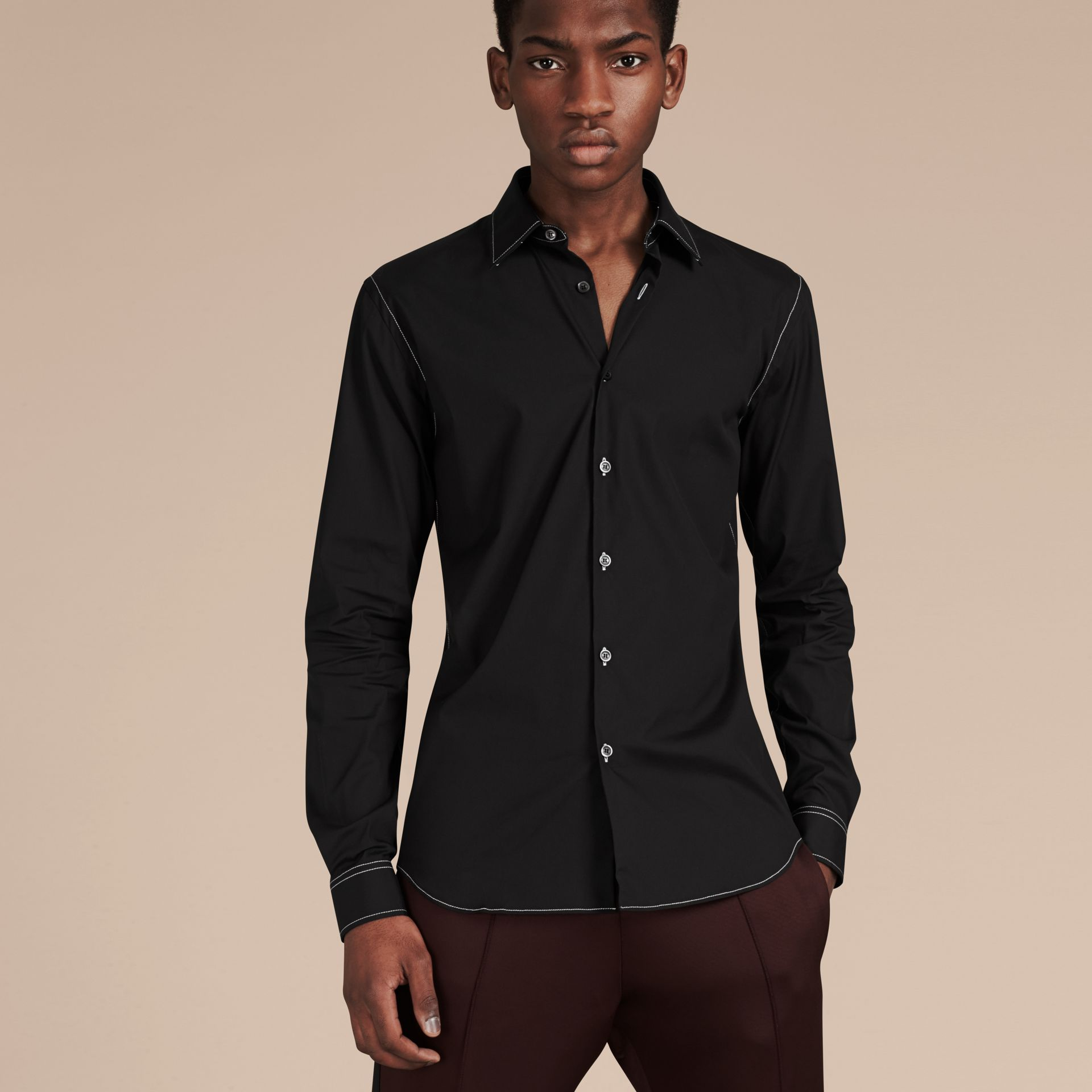 Black Contrast Topstitch Stretch Cotton Shirt Black - gallery image 6