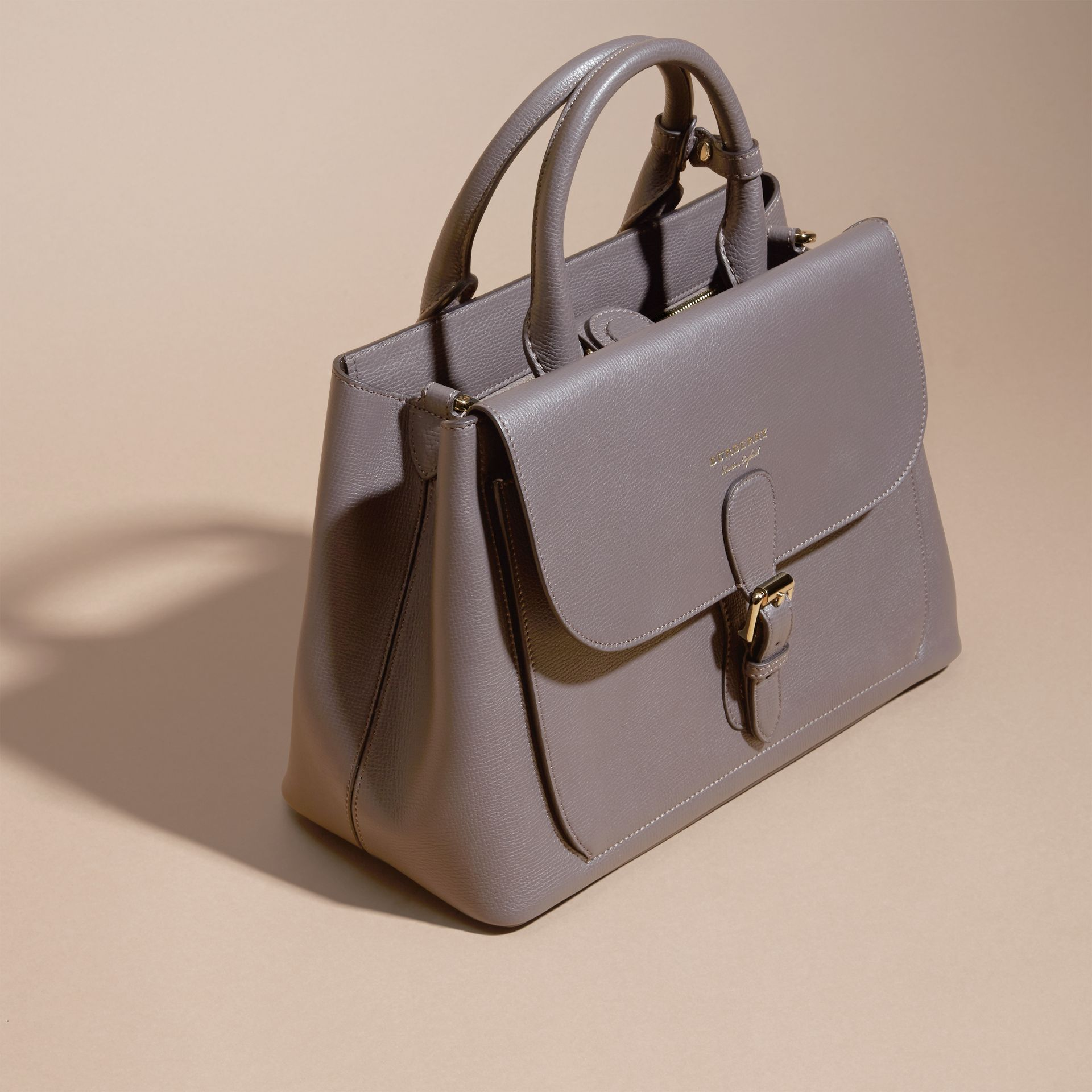 Sepia grey The Medium Saddle Bag in Grainy Bonded Leather Sepia Grey - gallery image 7