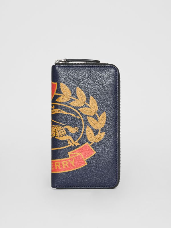 Crest Print Leather Ziparound Wallet in Storm Blue - Men | Burberry - cell image 2