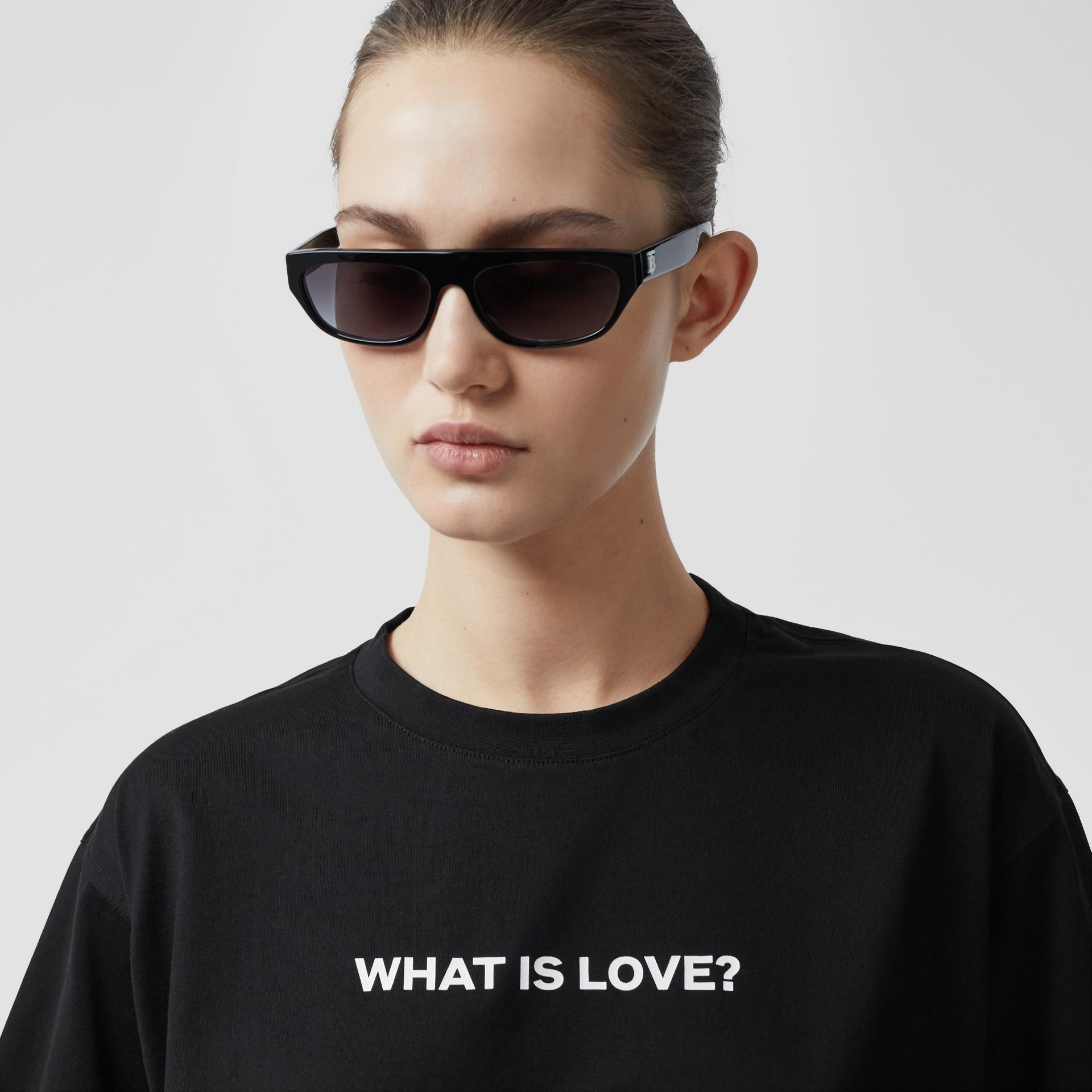 Love Slogan Cotton Oversized T-shirt in Black - Women | Burberry United Kingdom - gallery image 1