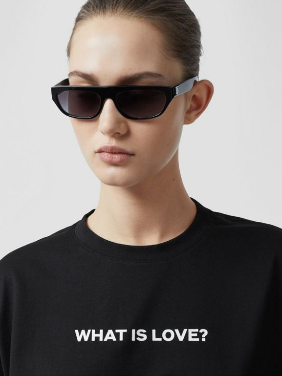 Love Slogan Cotton Oversized T-shirt in Black - Women | Burberry United Kingdom - cell image 1