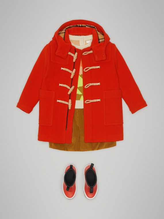 Double-faced Wool Duffle Coat in Orange Red