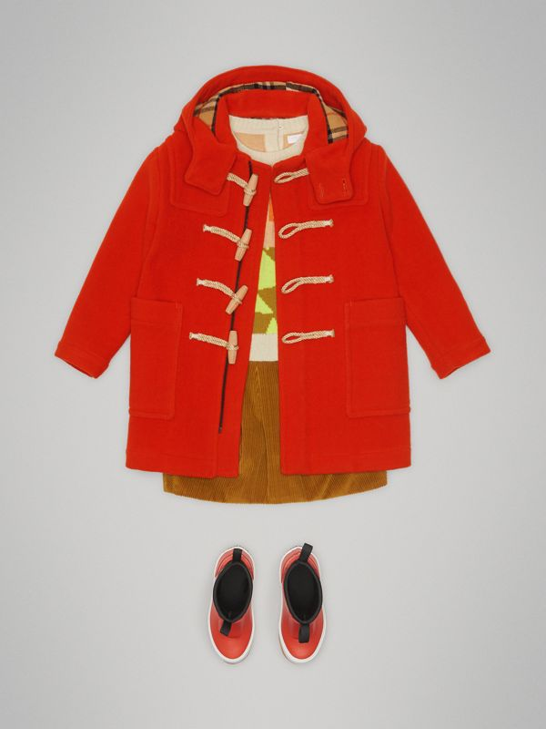 Double-faced Wool Duffle Coat in Orange Red | Burberry Canada - cell image 2