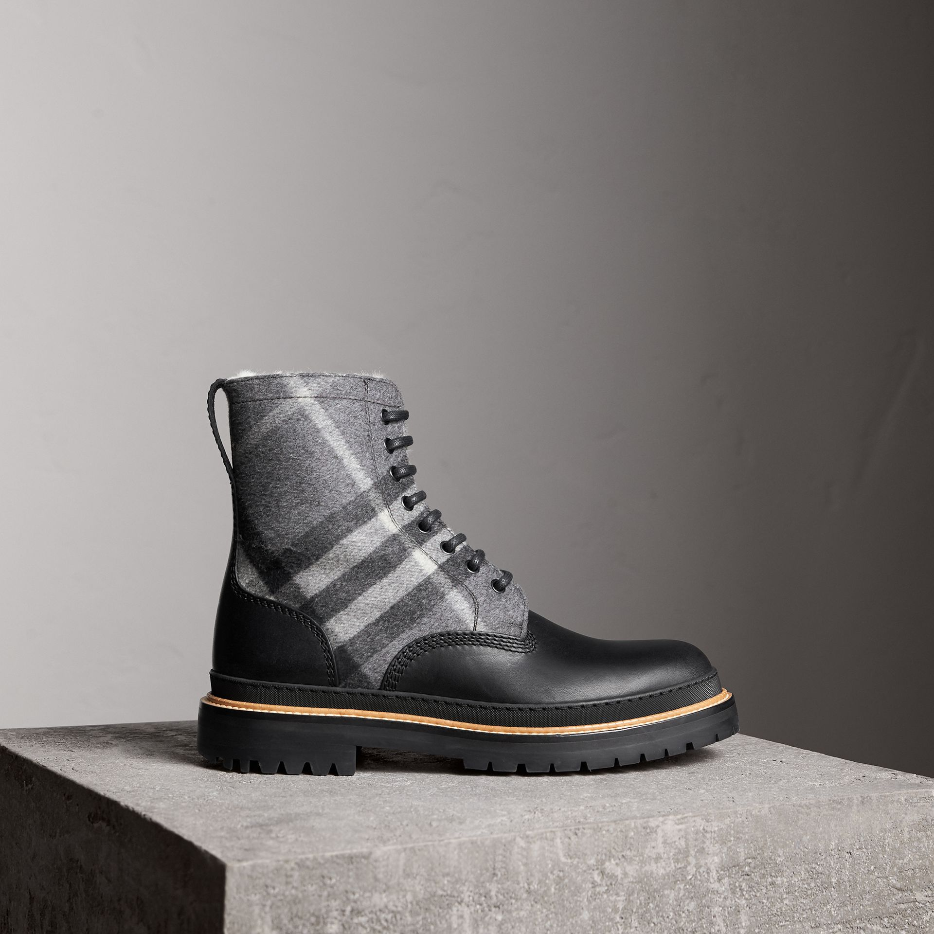 Shearling-lined Leather and Check Boots in Black - Men | Burberry Singapore - gallery image 0