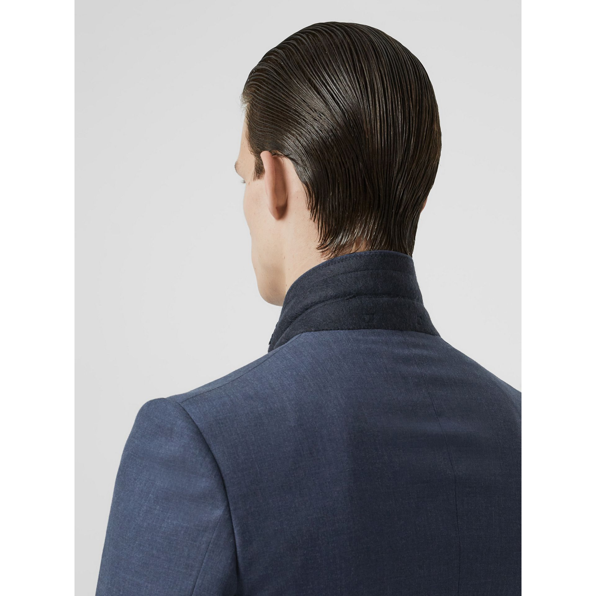 Classic Fit Wool Tailored Jacket in Steel Blue Melange - Men | Burberry United Kingdom - gallery image 4