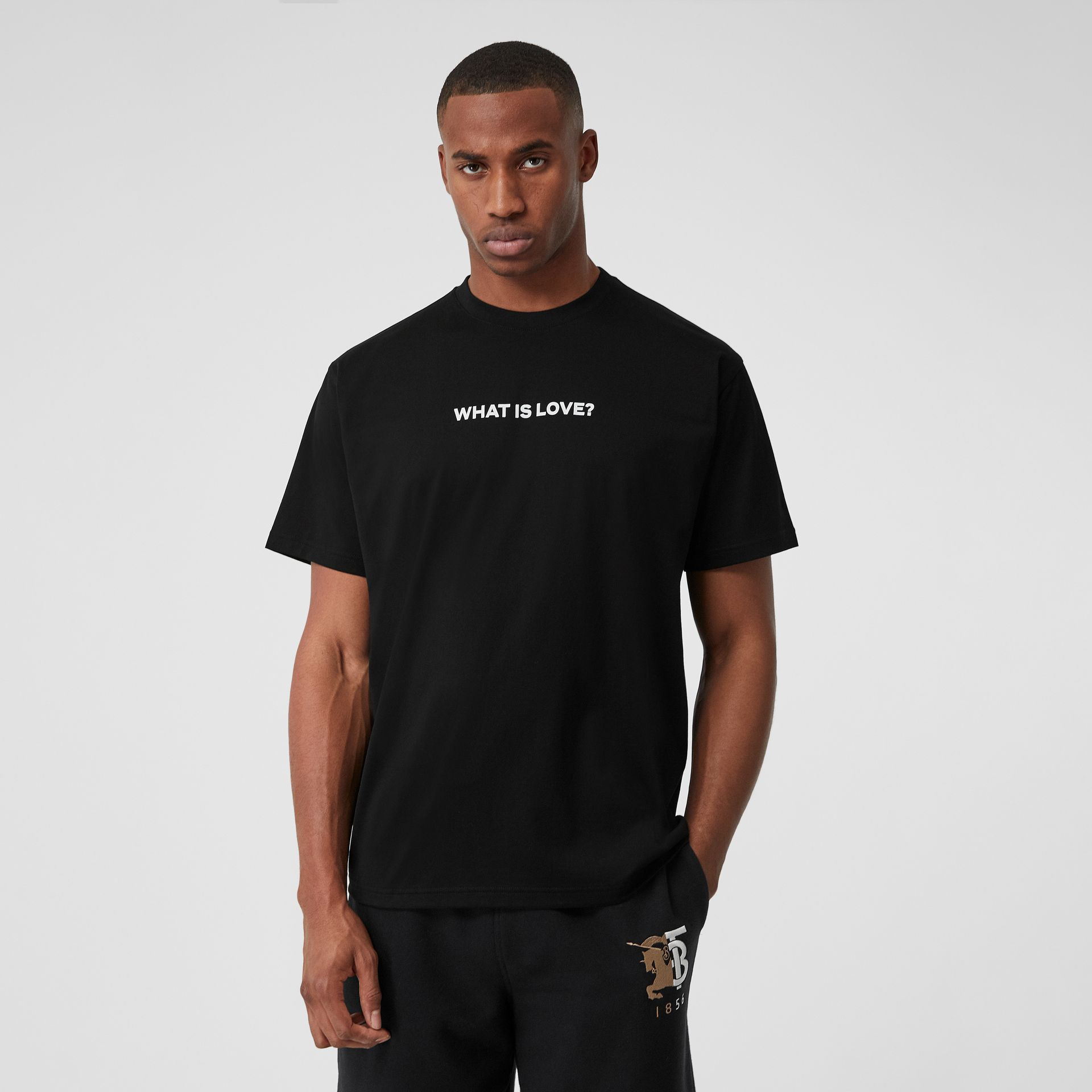 Love Slogan Cotton Oversized T-shirt in Black - Men | Burberry Hong Kong S.A.R - gallery image 0