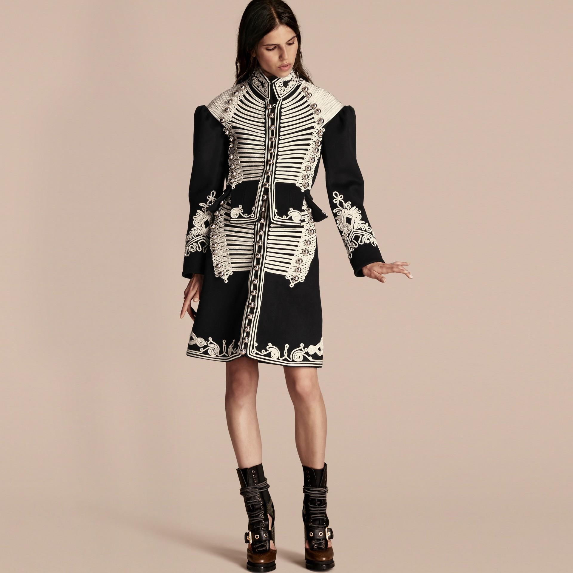Black Braided Wool Military Coat - gallery image 1