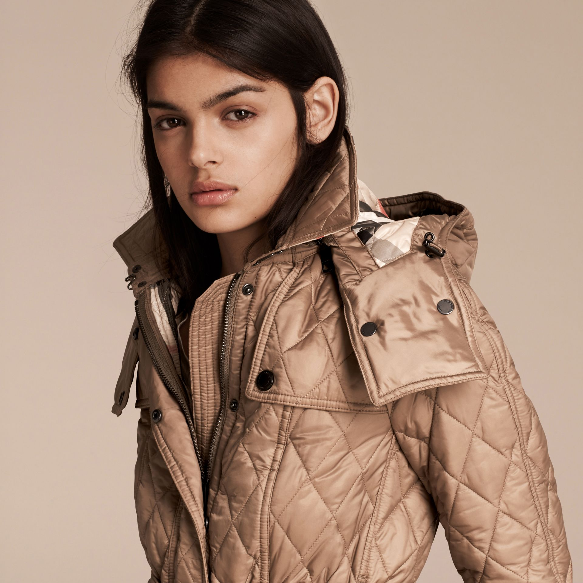 Quilted Trench Jacket with Detachable Hood Pale Fawn - gallery image 5