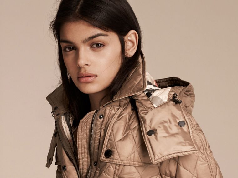 Quilted Trench Jacket with Detachable Hood in Pale Fawn - Women | Burberry Canada - cell image 4