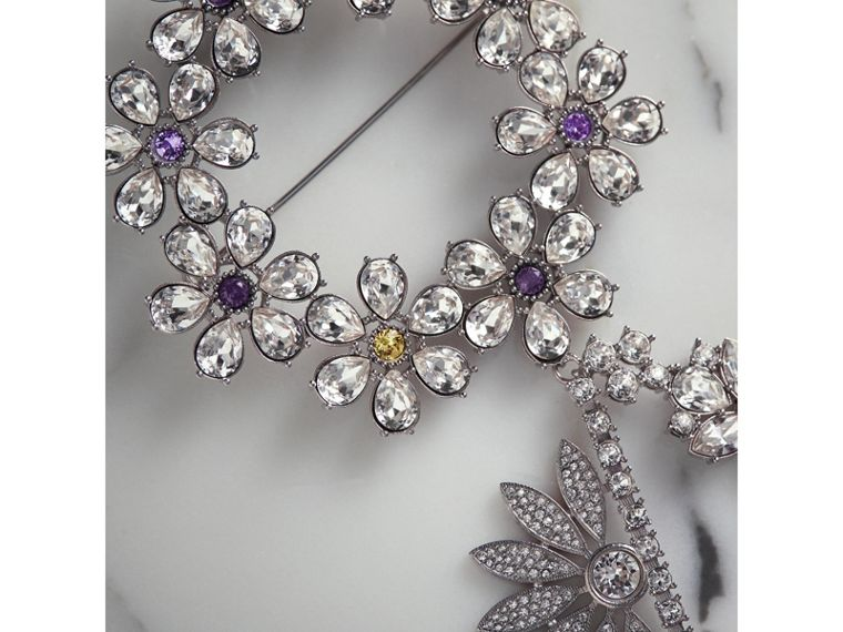 Crystal Daisy Chain Chandelier Brooch in Pale Lavender | Burberry - cell image 1