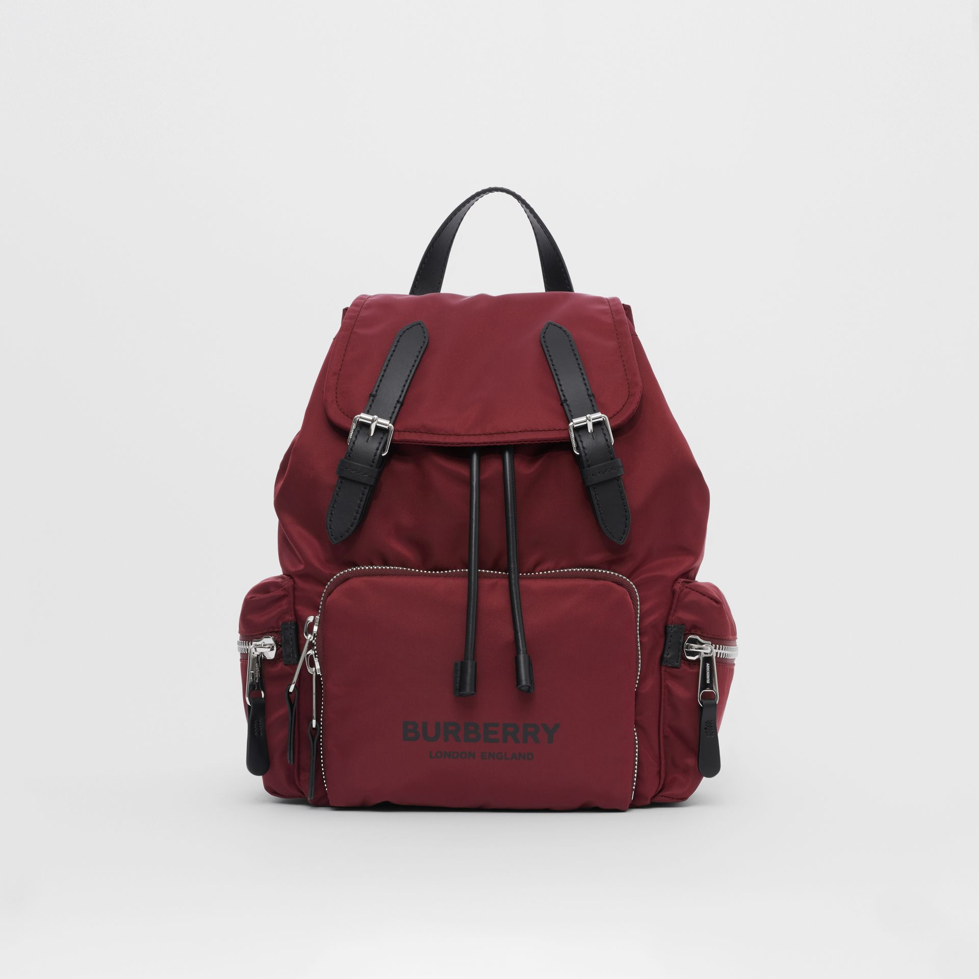 The Medium Rucksack in Logo Print ECONYL® in Burgundy - Women | Burberry Singapore - gallery image 0