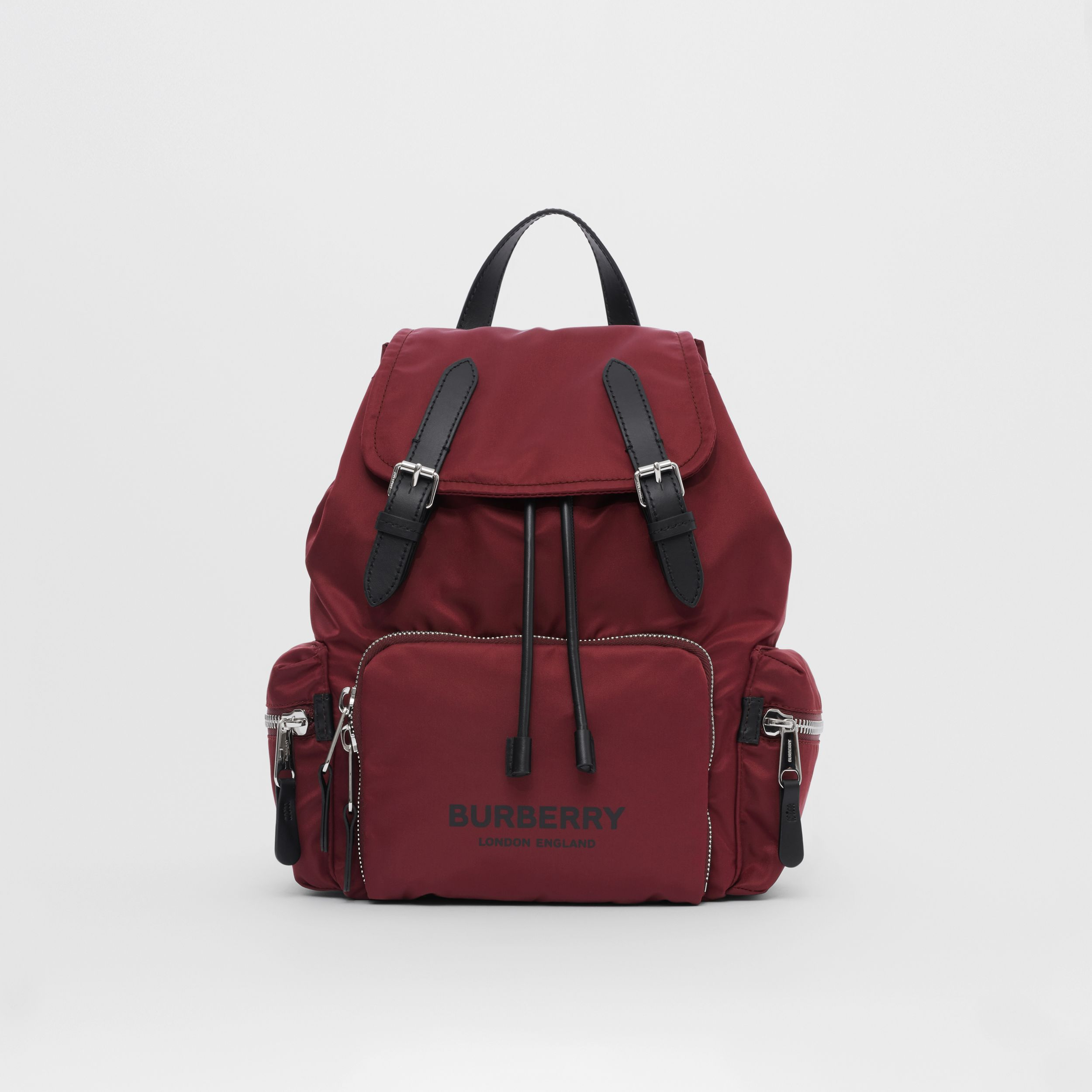 The Medium Rucksack in Logo Print ECONYL® in Burgundy - Women | Burberry - 1