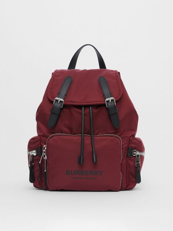 The Medium Rucksack in Logo Print ECONYL® in Burgundy