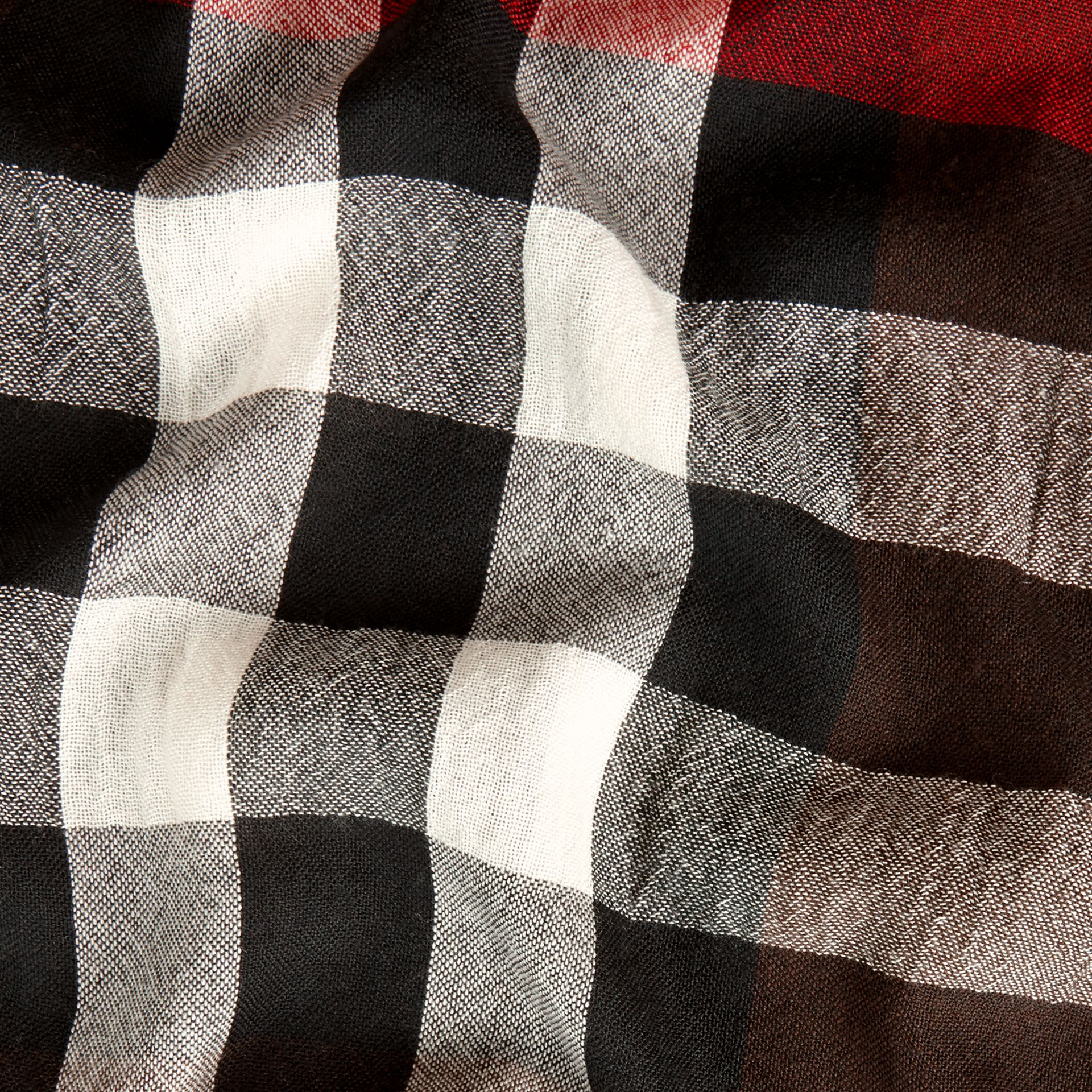 Claret Lightweight Check Wool Cashmere Scarf Claret - gallery image 2