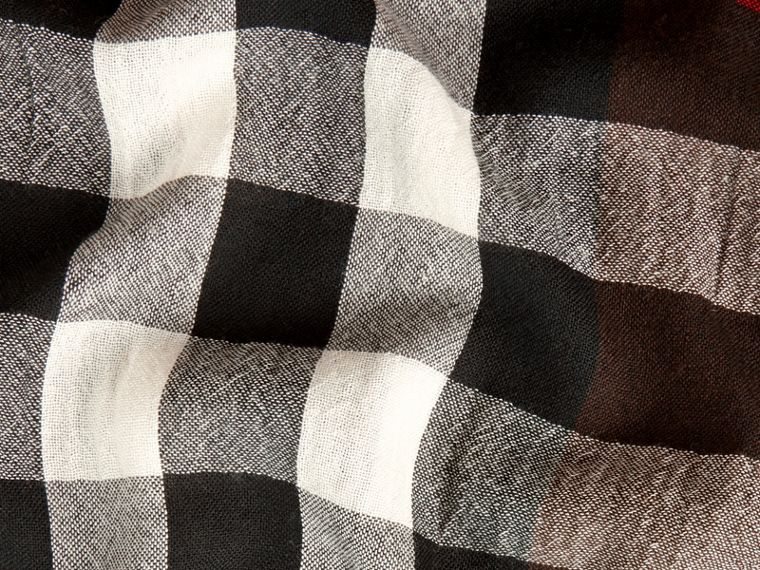 Claret Lightweight Check Wool Cashmere Scarf Claret - cell image 1