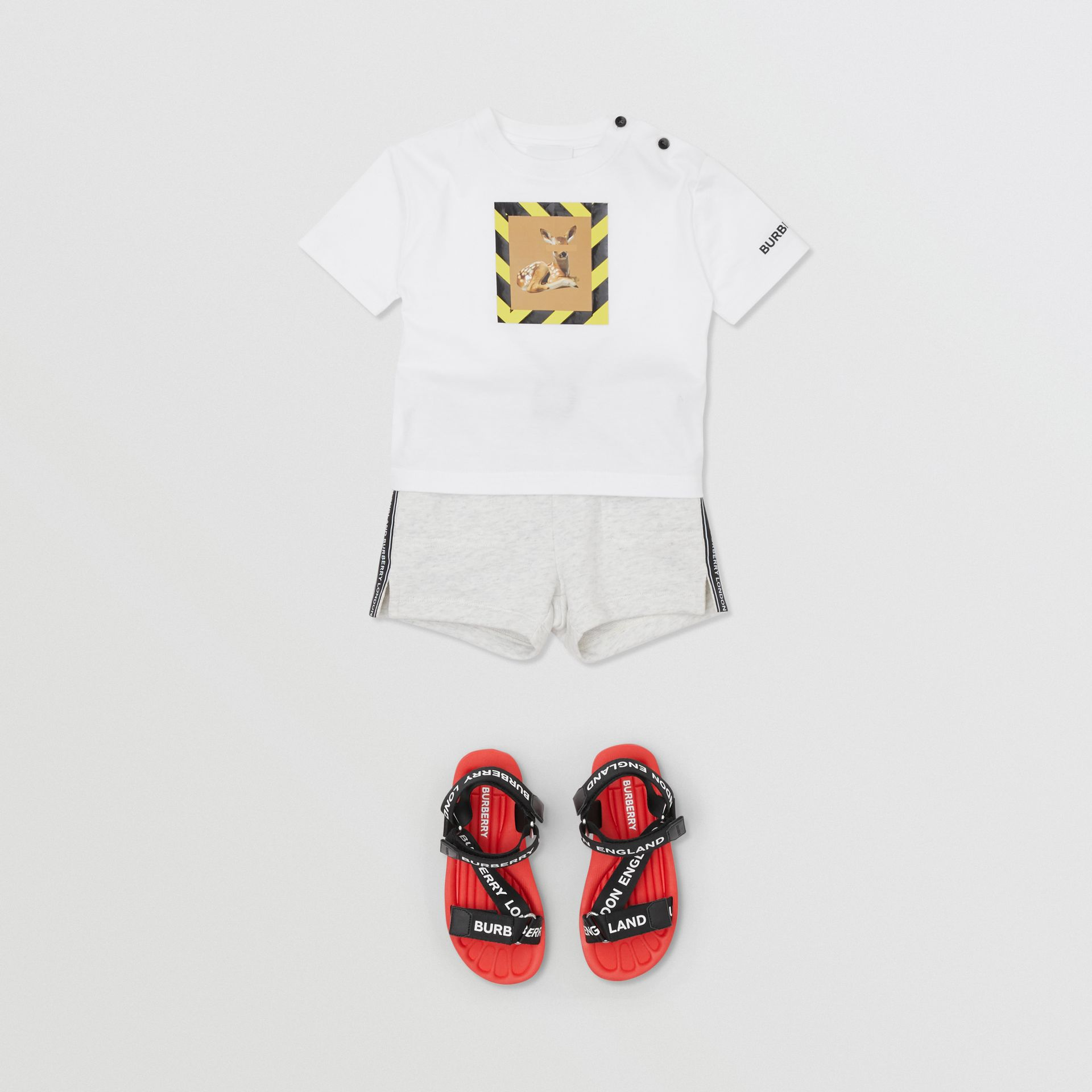 Deer Print Cotton T-shirt in White - Children | Burberry United Kingdom - gallery image 2