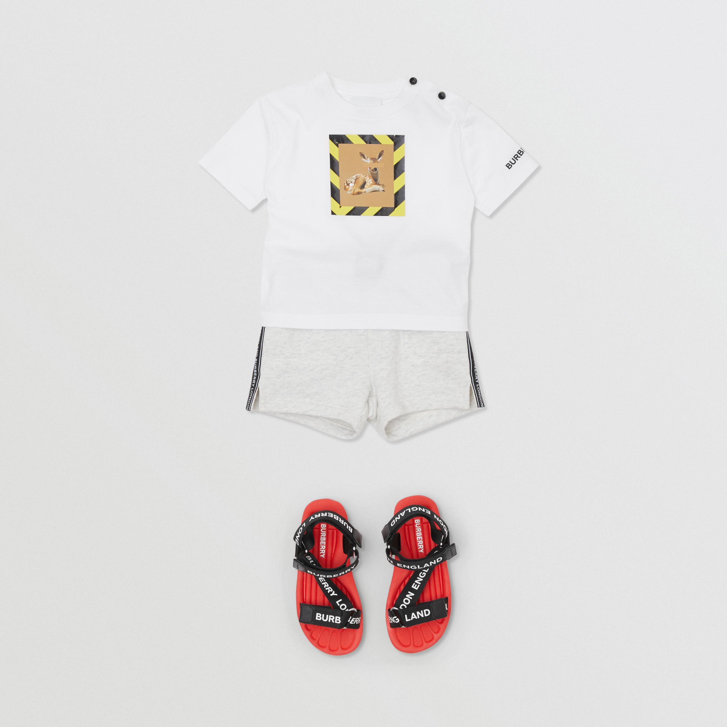 Deer Print Cotton T-shirt in White - Children | Burberry - 3