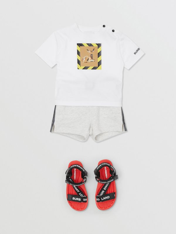 Deer Print Cotton T-shirt in White - Children | Burberry - cell image 2