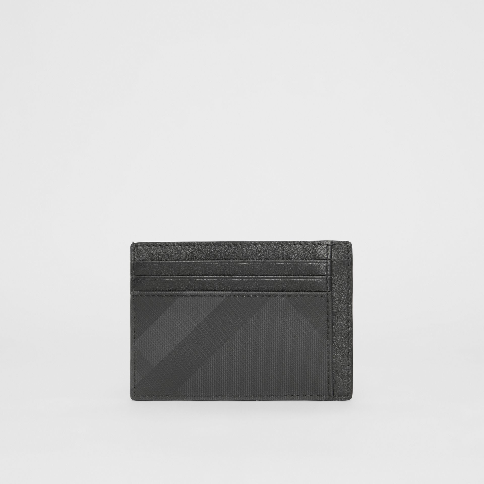 London Check and Leather Card Case in Dark Charcoal - Men | Burberry Singapore - gallery image 4