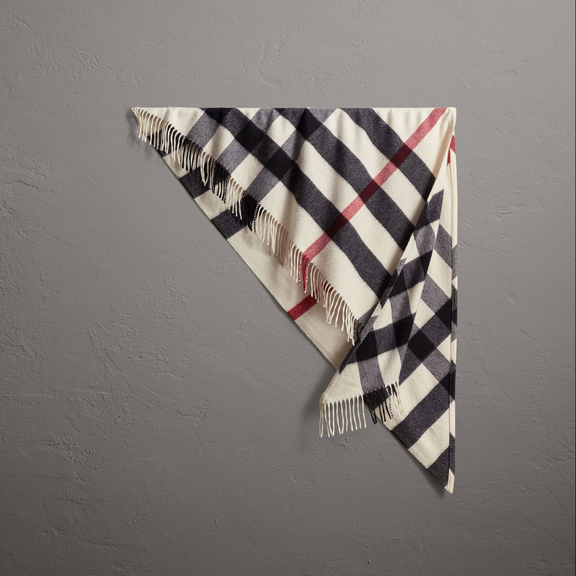 The Burberry Bandana in Check Cashmere in Natural White | Burberry - gallery image 0