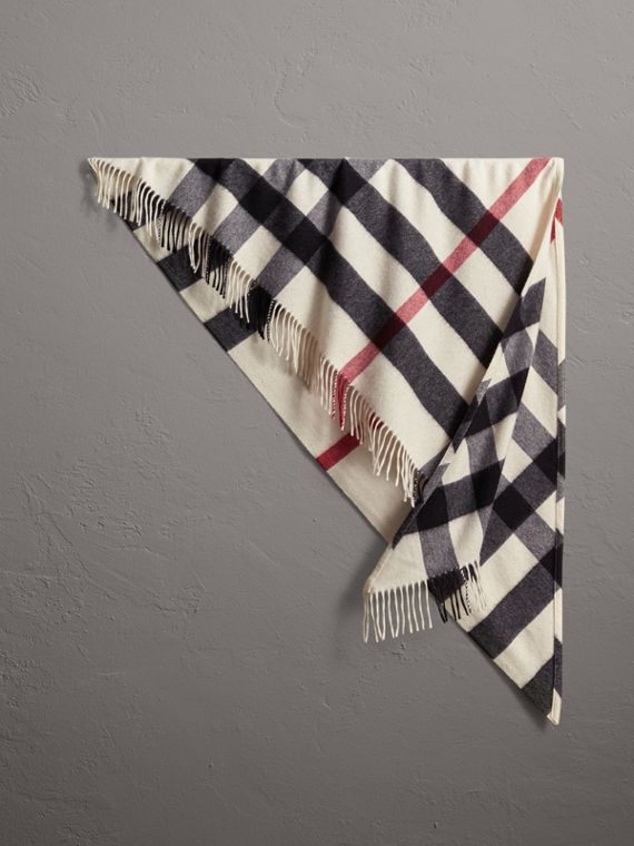 The Burberry Bandana in Check Cashmere in Natural White