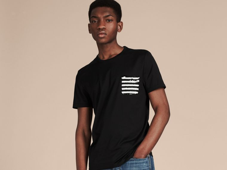 Black Cotton T-shirt with Sequin Stripe Detail Black - cell image 4