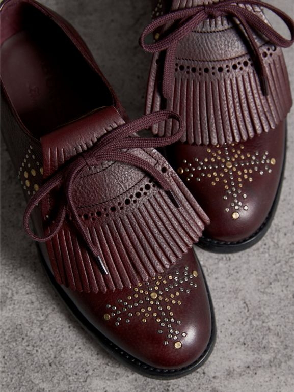 Lace-up Kiltie Fringe Riveted Leather Loafers in Cerise Purple - Women | Burberry - cell image 1