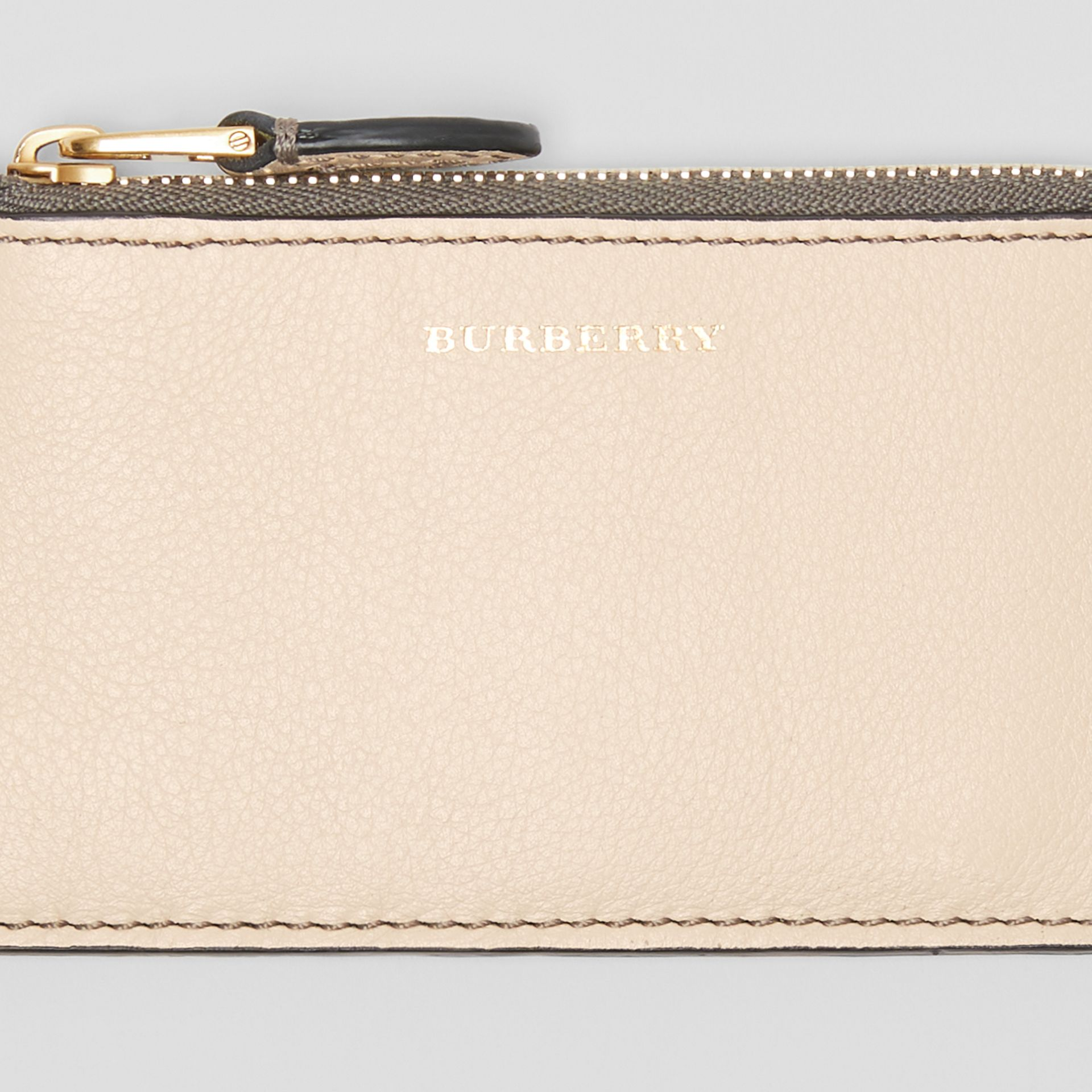 Two-tone Leather Card Case in Limestone | Burberry - gallery image 1