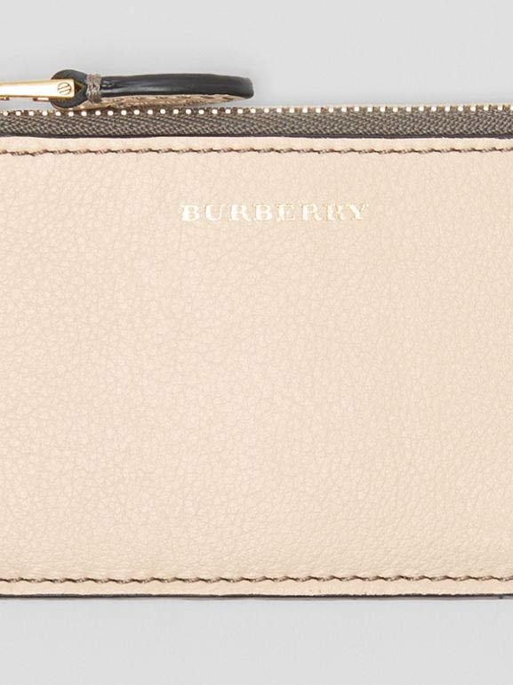Two-tone Leather Card Case in Limestone | Burberry - cell image 1