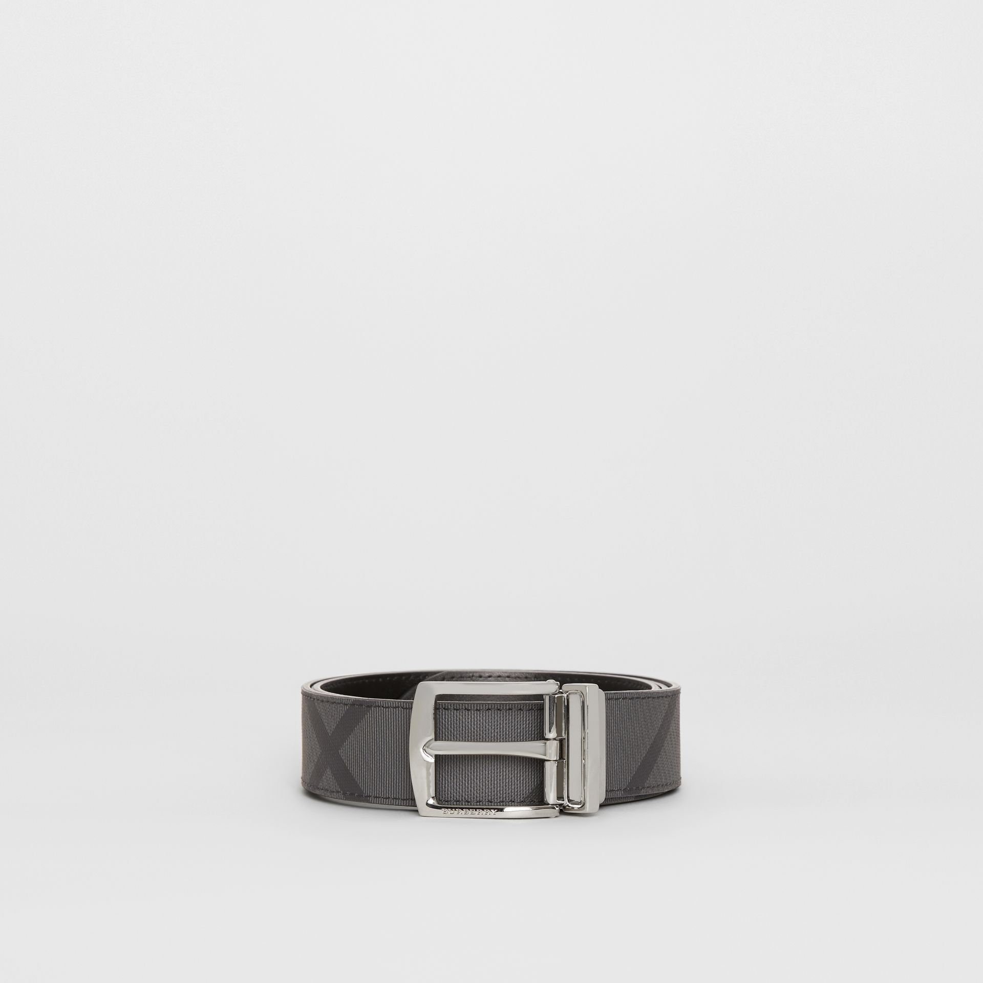 Reversible London Check and Leather Belt in Charcoal/black - Men | Burberry Canada - gallery image 3