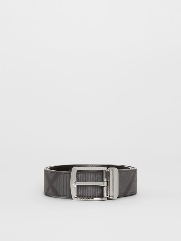 Reversible London Check and Leather Belt in Charcoal/black - Men | Burberry Canada - cell image 3
