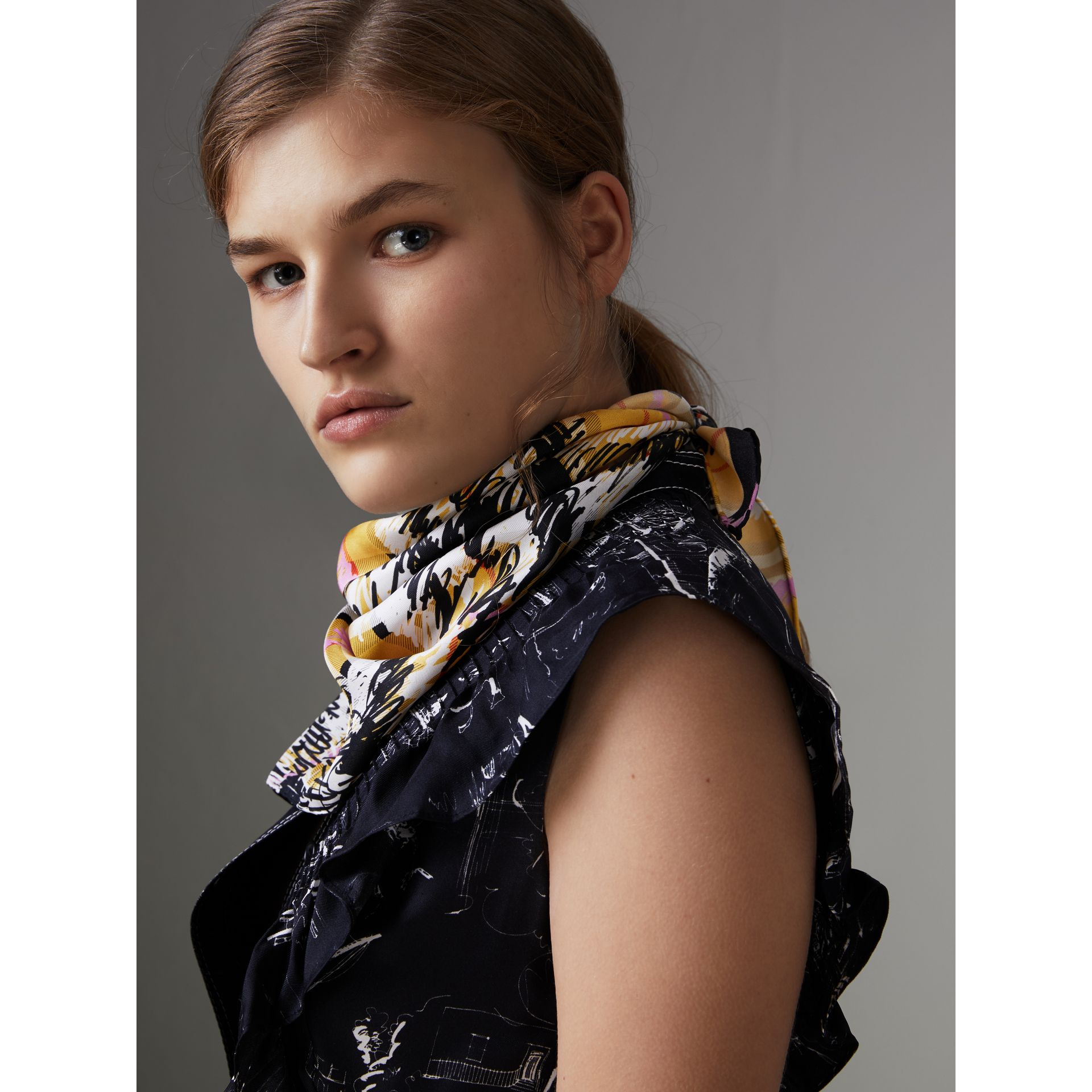 Scribble Check Silk Scarf in Bright Yellow - Women | Burberry Hong Kong - gallery image 3