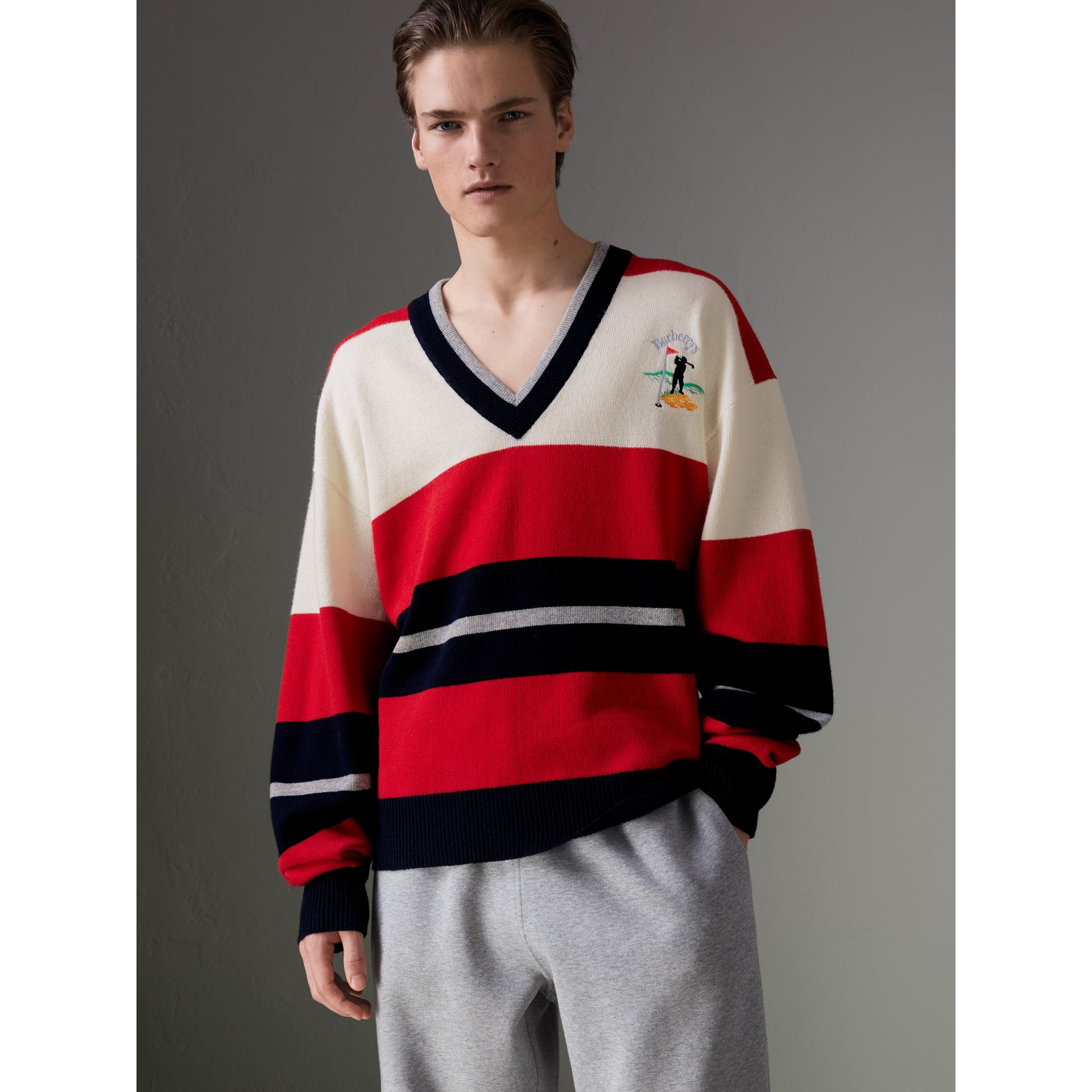 Reissued Striped Lambswool Sweater in Red/white - Men | Burberry - gallery image 5