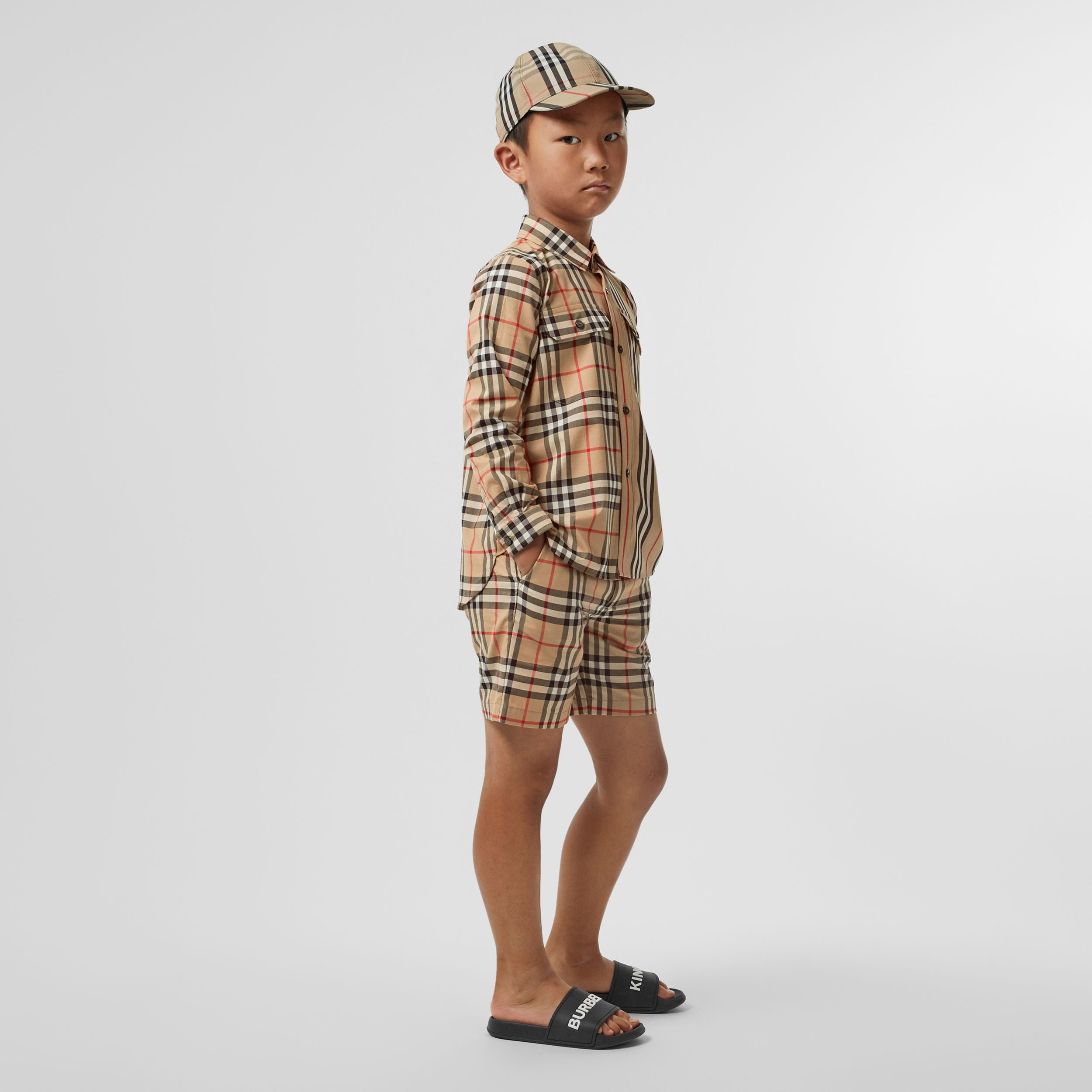 Vintage Check Cotton Tailored Shorts in Archive Beige - Boy | Burberry - 3