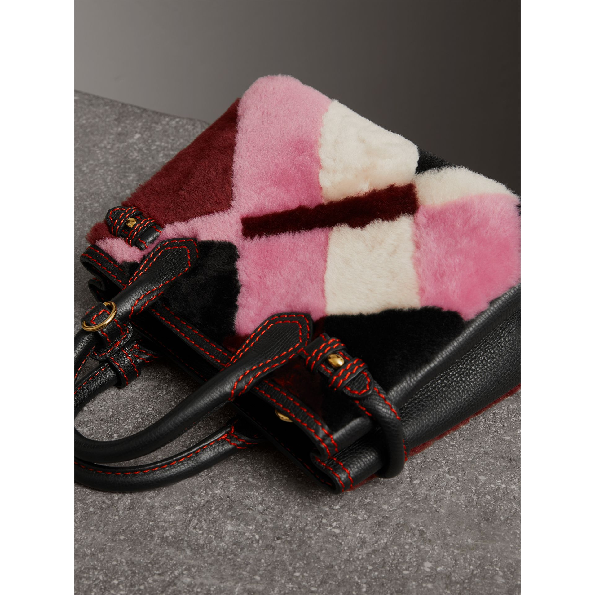 The Baby Banner in Patchwork Check Shearling and Leather in Pink - Women | Burberry Australia - gallery image 6