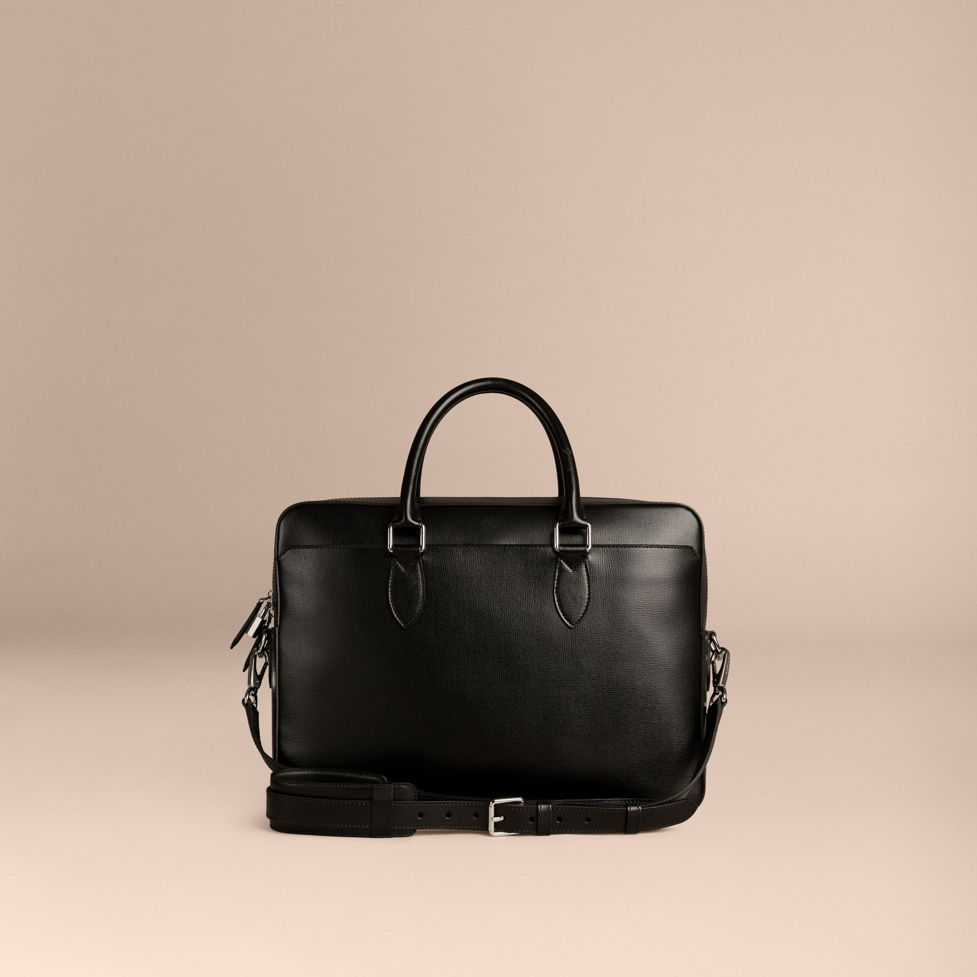 Black Large London Leather Briefcase Black - gallery image 4