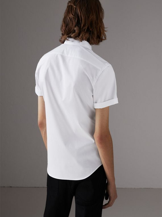 Short-sleeved Stretch Cotton Poplin Shirt in White - Men | Burberry - cell image 2