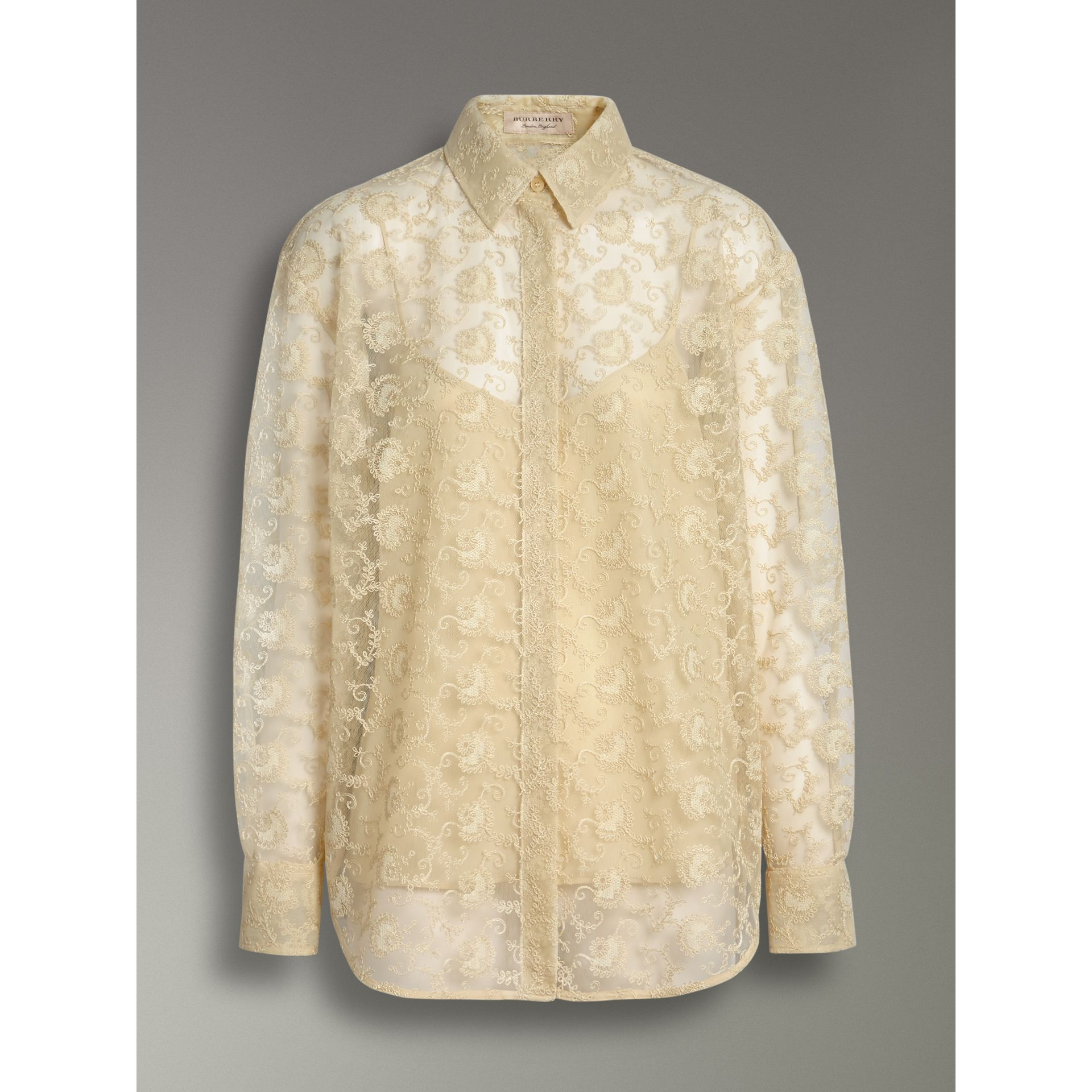 Floral Lace Shirt in Pale Yellow - Women | Burberry - gallery image 3