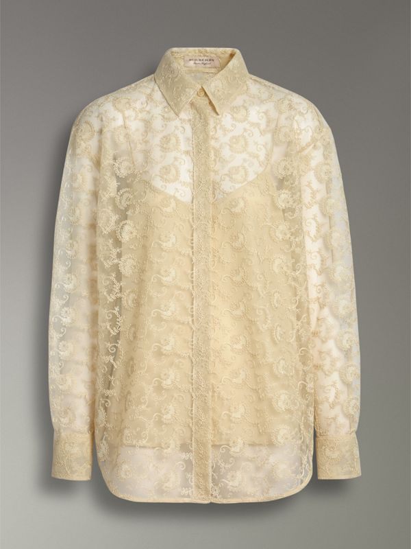 Floral Lace Shirt in Pale Yellow - Women | Burberry - cell image 3
