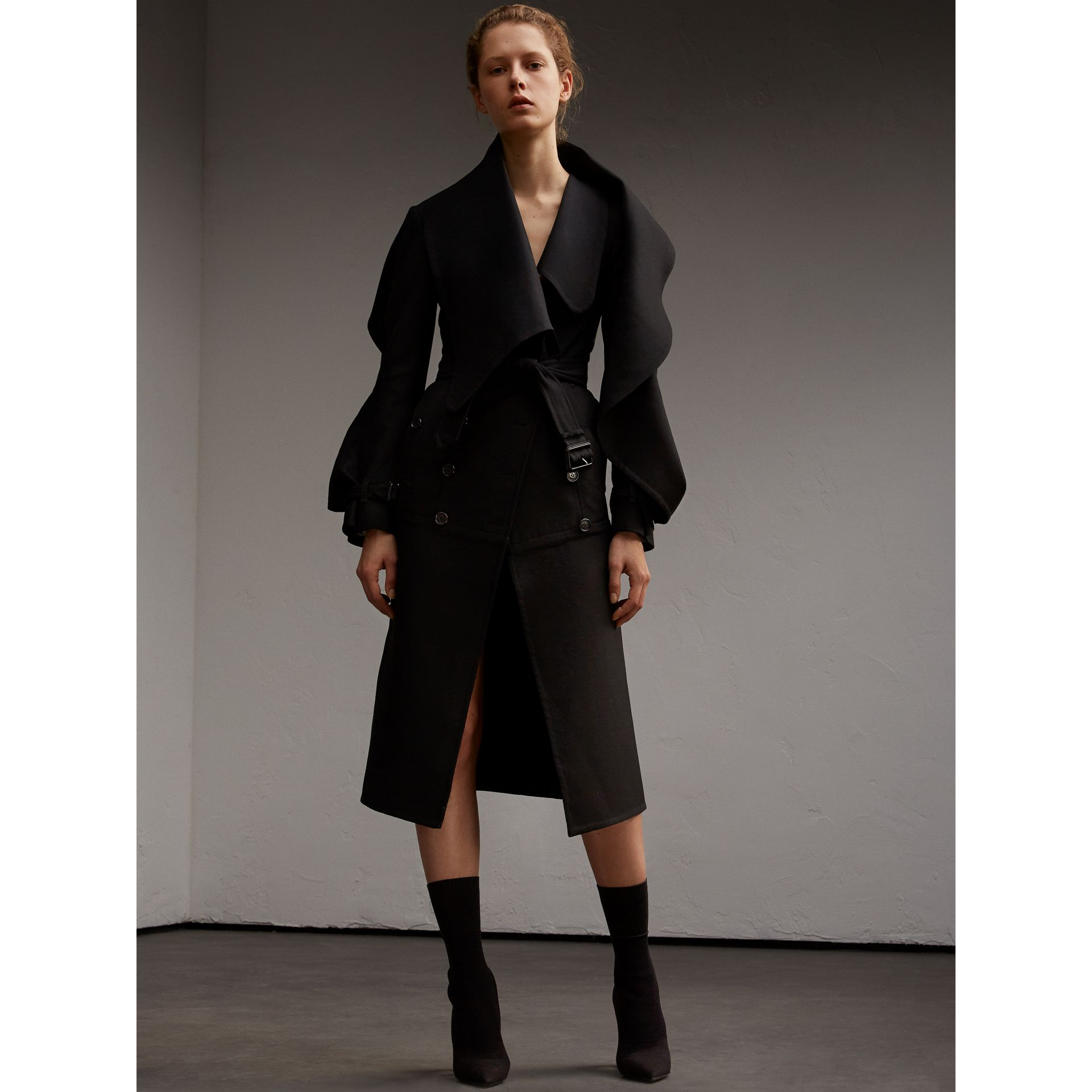 Lightweight Double-faced Wool Twill Asymmetric Coat - gallery image 7