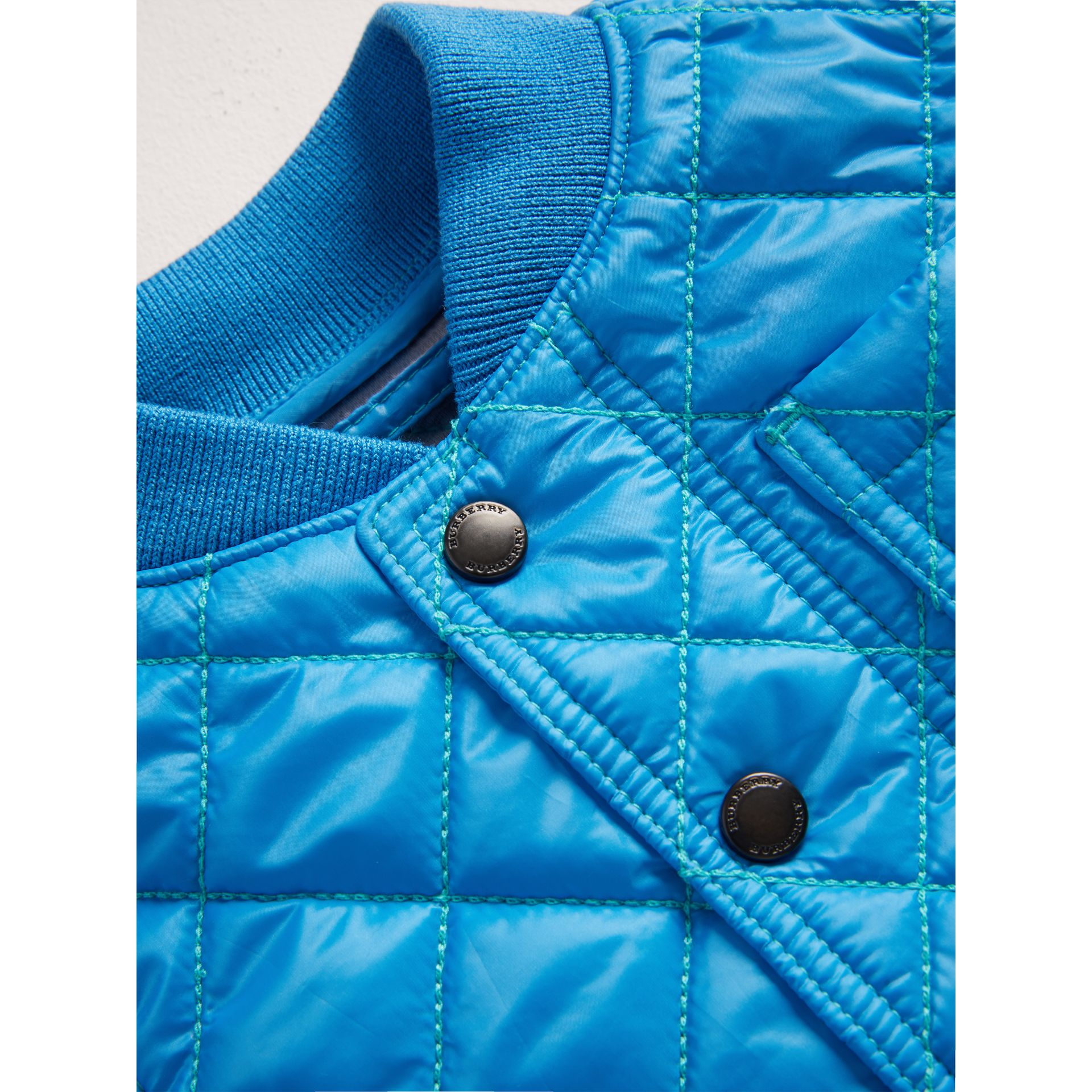 Topstitched Quilted Jacket in Cyan Blue | Burberry - gallery image 1