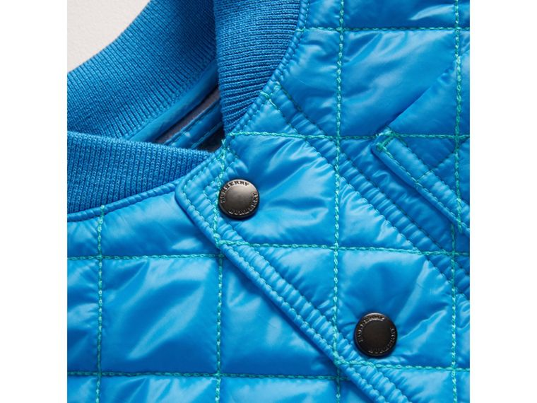 Topstitched Quilted Jacket in Cyan Blue | Burberry - cell image 1