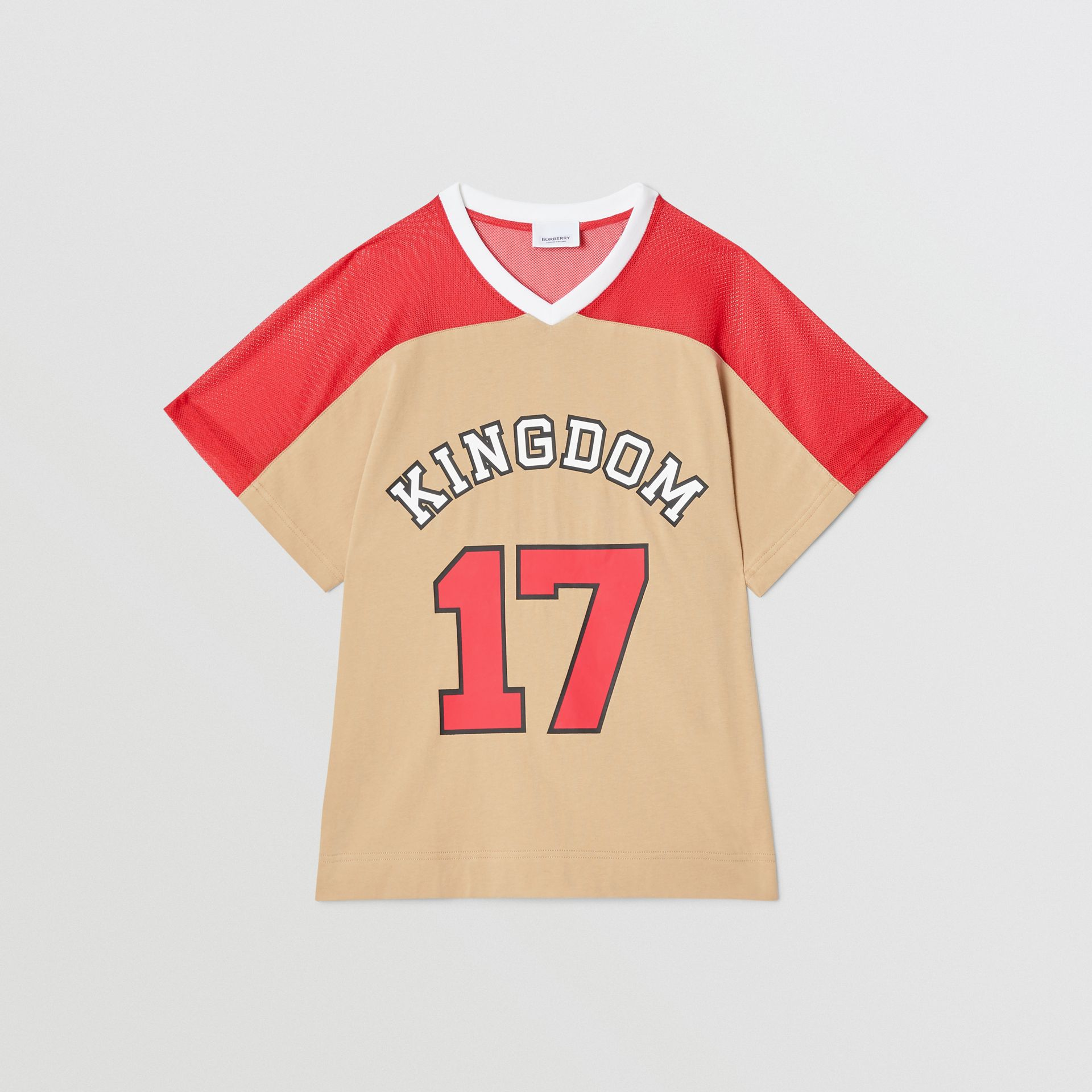 Mesh Panel Kingdom Print Cotton T-shirt in Bright Red | Burberry Canada - gallery image 0