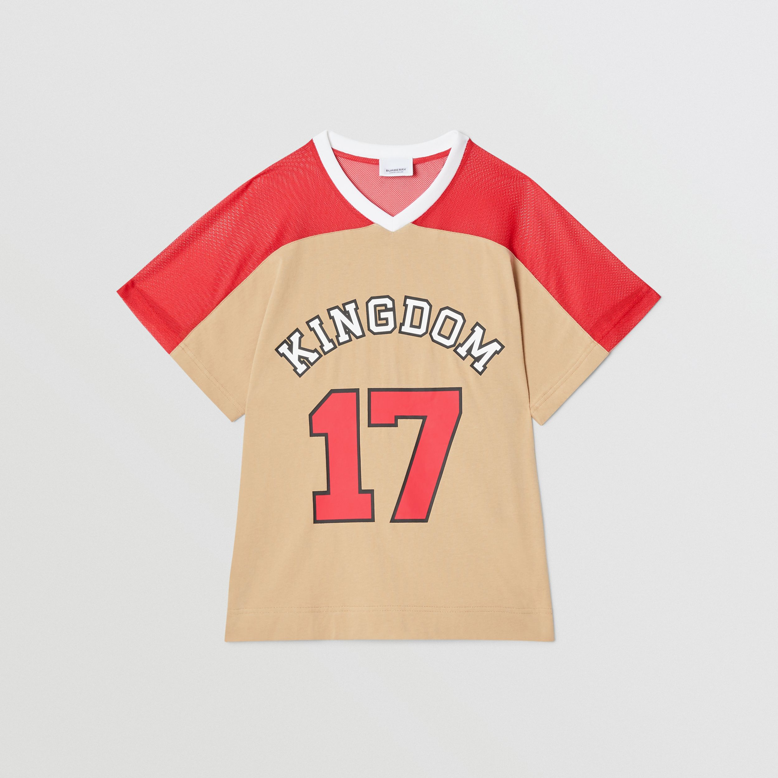 Mesh Panel Kingdom Print Cotton T-shirt in Bright Red | Burberry - 1