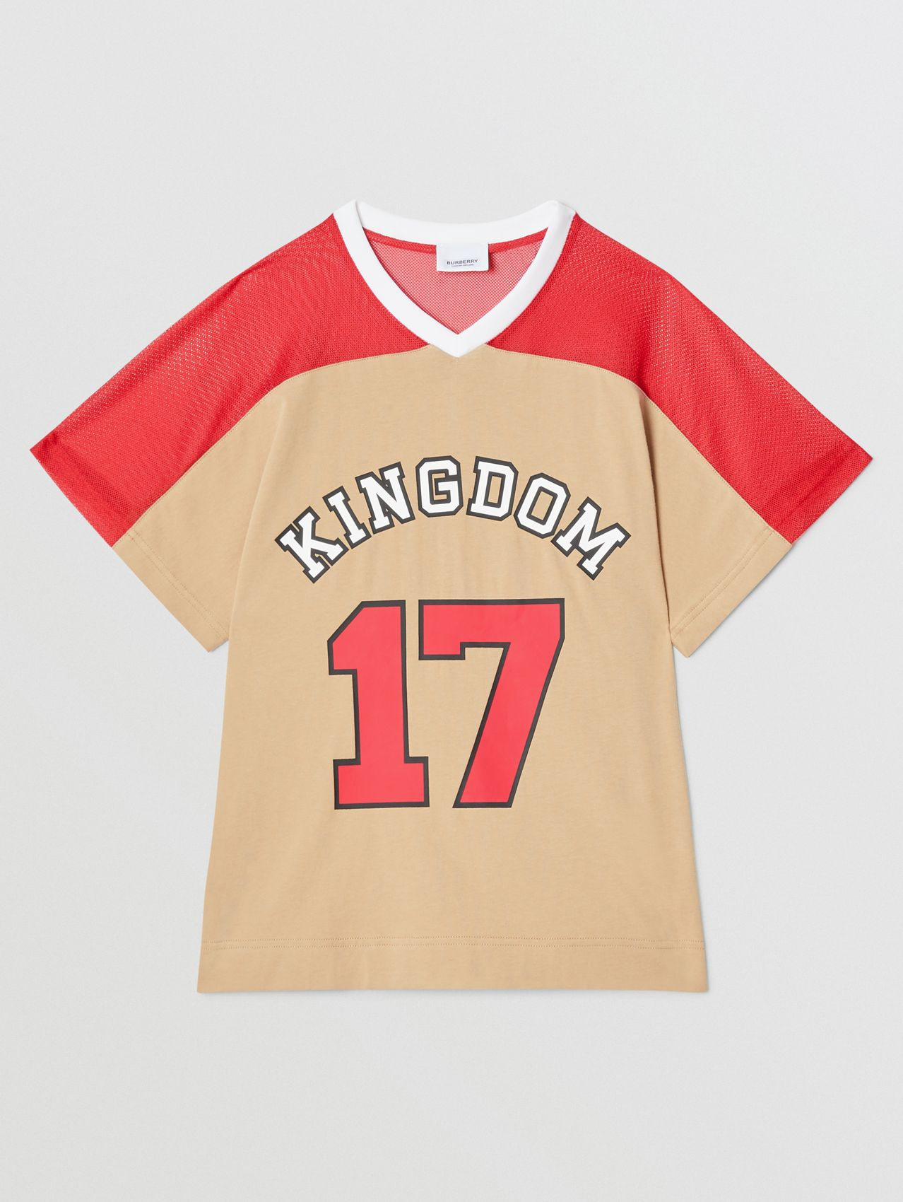 Mesh Panel Kingdom Print Cotton T-shirt (Bright Red)