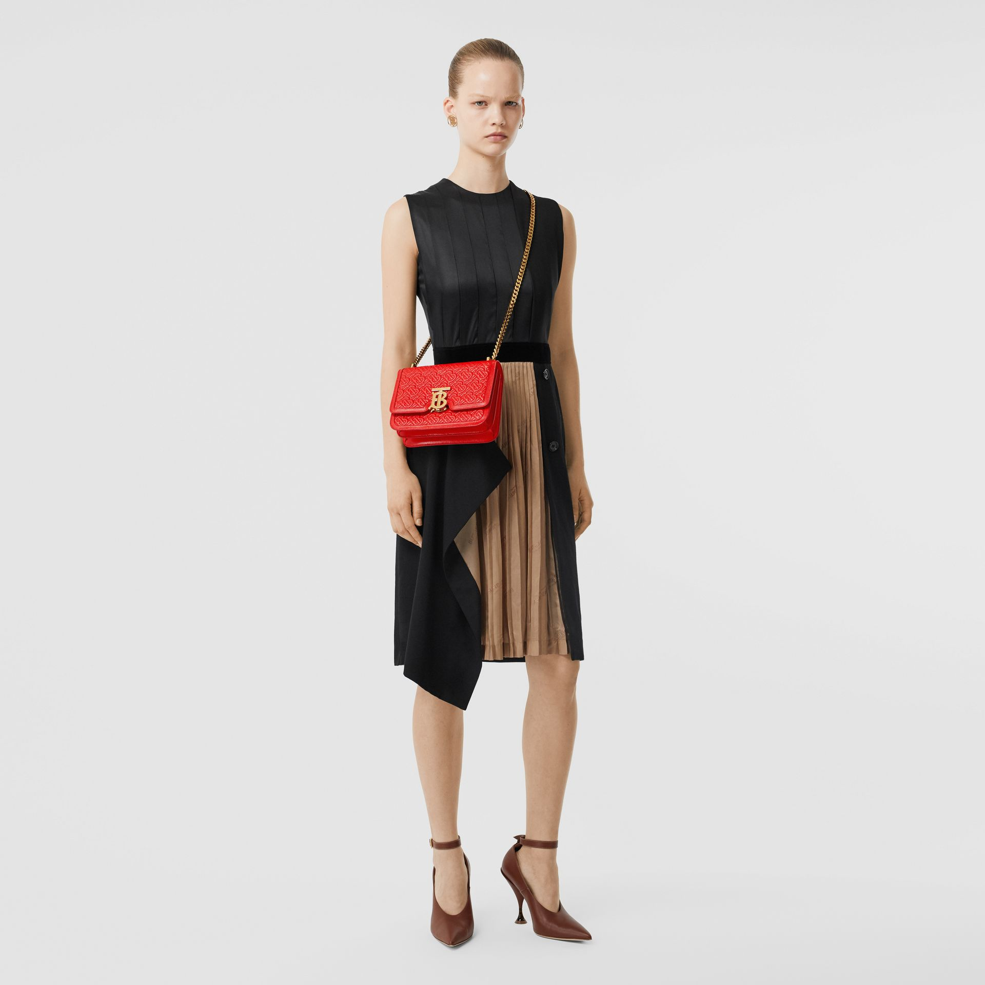 Small Quilted Monogram Leather TB Bag in Bright Red - Women   Burberry - gallery image 8