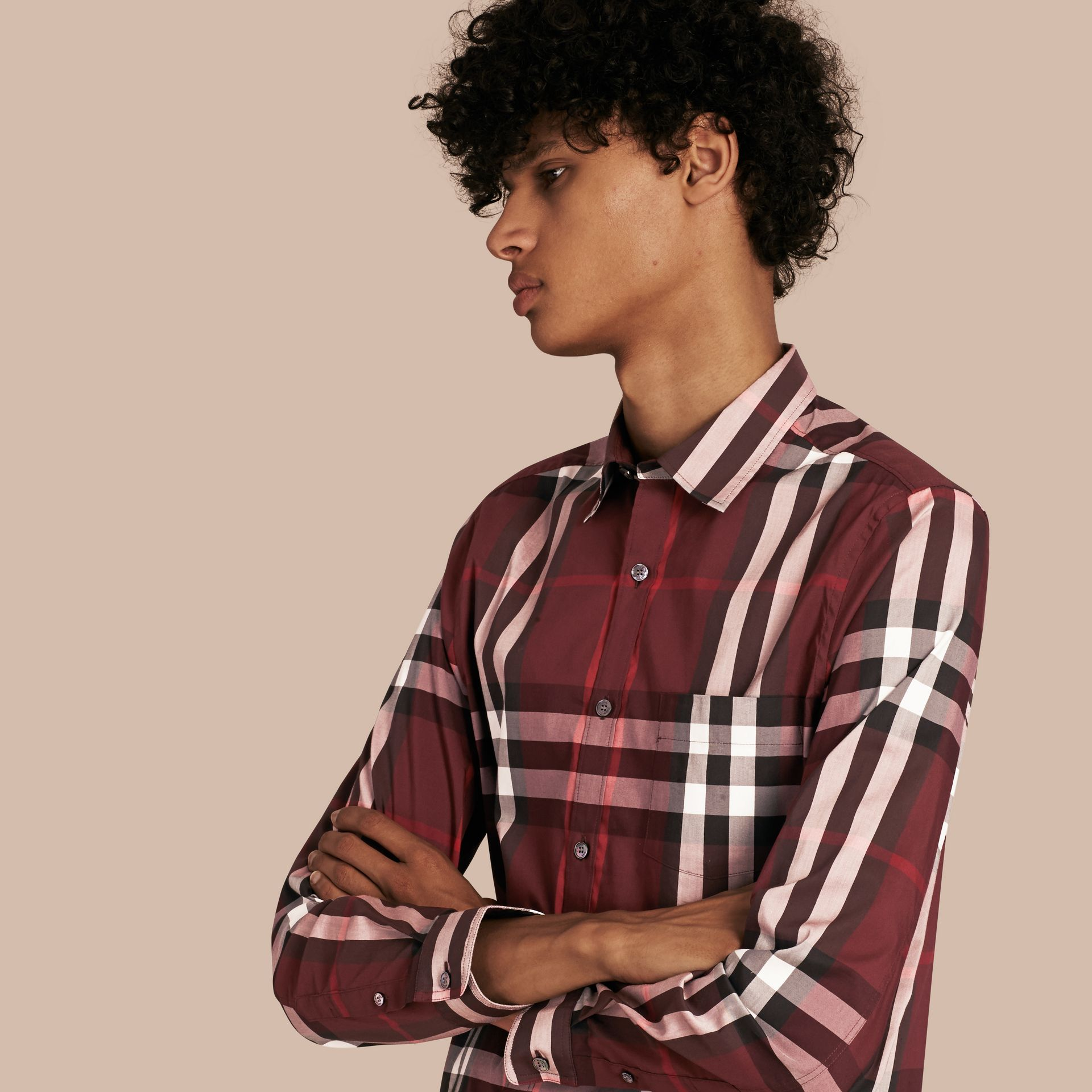 Check Stretch Cotton Shirt Claret - gallery image 1