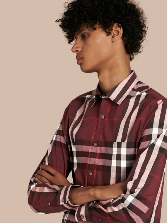 Check Stretch Cotton Shirt Claret